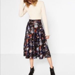 Zara Floral Faux Leather Skirt